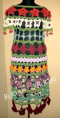 Amazing handmade crochet lace flower dress Floral por RuchkiKruchkI