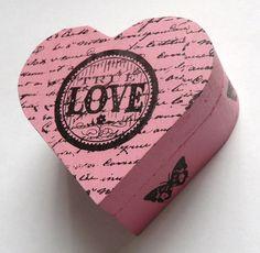 Pink Heart 'True Love' And Butterflies Trinket by missbohemia