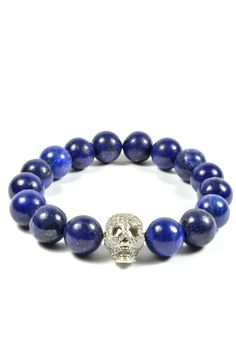 12mm Lapis Lazuli Stone and CZ Gold Filled Skull – Tag Twenty Two #men'sjewelry