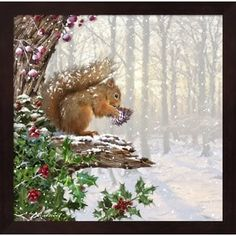 Christmas Squirrel Framed Wall Art | Overstock.com Shopping - The Best Deals on Framed Prints