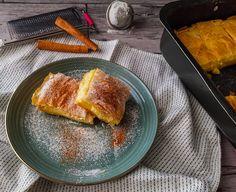ΑΠΟΛΑΥΣΤΙΚΗ ΓΛΥΚΙΑ ΜΠΟΥΓΑΤΣΑ ΜΕ ΦΥΛΛΟ ΚΡΟΥΣΤΑΣ ΚΑΙ ΚΡΕΜΑ | Pastry...tsio French Toast, Breakfast, Blog, Morning Coffee, Blogging
