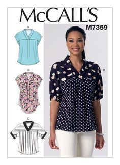Easy Sewing Patterns, Mccalls Sewing Patterns, Blouse Patterns, Clothing Patterns, Blouse Sewing Pattern, Sewing Clothes, Diy Clothes, Make Your Own Clothes, Top Pattern