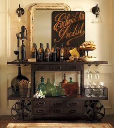 Vintage Industrial Decor 19 Ways An Industrial Bar Cart Can Improve Your Life - Just in case you're looking for somewhere gorgeous to rest your whiskey. Estilo Industrial Chic, Industrial Bar Cart, Industrial Style, Vintage Industrial, Design Industrial, Industrial Restaurant, Industrial Shelving, Industrial Bathroom, Industrial Farmhouse