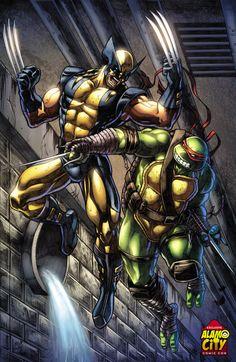 Marvel and TMNT Crossover: Wolverine Vs Raphael_by Wesflo Wolverine Comics, Marvel Comics Art, Marvel Comic Universe, Marvel Heroes, Teenage Ninja Turtles, Ninja Turtles Art, Sci Fi Anime, Shadow Warrior, Marvel Entertainment