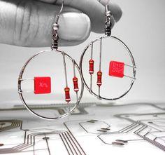 Computer Part Jewelry Resistor Earrings Red Hoop by clonehardware, $15.00