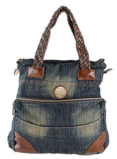 AINISI Frauen Und Mädchen Lässig Schwarz Denim Umhängetasche Handtasche