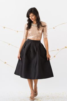 Black Midi Skirts, Midi Skirts for Women, Holiday Outfit Inspiration