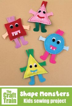 Easy shape monsters sewing craft for kids with free printable pattern. Great for beginners! THis project is part of the Sew a Softie tutorial hop  Halloween crafts for kids #sewingcraft #kidssewing #kidsactivities #sewasoftie #feltcrafts #monsters #monstercrafts Halloween Crafts For Kids To Make, Halloween Art Projects, Easy Crafts For Kids, Kid Crafts, Sewing Crafts, E Craft, Craft Free, Sewing Projects For Kids, Sewing For Kids