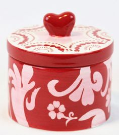 Mesa Home Products Decorative Bowl Storage Pink White Red Heart Lid Trinkets #MesaHomeProducts #Contemporary