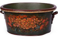 19th-C. Tole Floral Footbath - Antique lacquered metal footbath with painted floral motif.