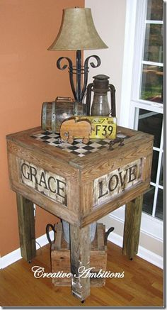 "Pallets! Butcher block shaped table with checker board top.On the sides are words like Love and Grace pinned to ""It's a Pallet Jack"" by Pamela"