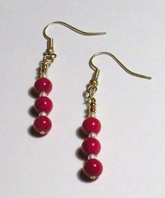 Red and White Pearl Striped Earrings by TriannasTreasures