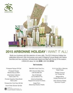 Check out the incredible 2015 Arbonne holiday products! Go to www.tracydehoff.arbonne.com to order, or email me to discuss discounts available at trdehoff@gmail.com
