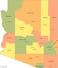 Arizona Map Showing Counties | Arizona County Map with County Seat Cities