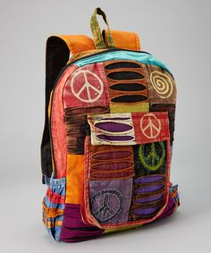 Love this Yellow & Orange Patchwork Peace Backpack by Rising International on #zulily! #zulilyfinds