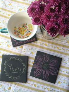 Chalkboard Tile Coasters. Craft night anyone?