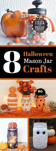 Easy tutorial for DIY decor ideas to help your home look more festive and Halloween Mason Jar Crafts. Easy tutorial for DIY decor ideas to help your home look more festive and spooky. Dulceros Halloween, Halloween Mason Jars, Adornos Halloween, Manualidades Halloween, Holidays Halloween, Halloween Decorations, Fall Decorations, Mason Jars For Christmas, Halloween Treats