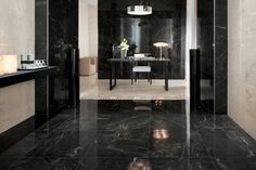 The marble look porcelain tiles are enhanced with new potential thanks to Marvel Pro, the collection by Atlas Concorde affording ample graphic variability. Black Marble Tile, Black Tiles, Marble Tiles, Marble Floor, Wall Tiles, Marble Slabs, Concorde, Kitchen Marble Top, Tile Suppliers