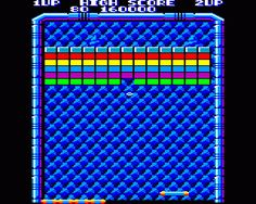 Arkanoid for Amstrad CPC (Imagine / Taito, 1987). Portage from the arcade version, also published on many platforms. Breakout-like game.