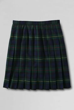 School Uniform Plaid Pleated Skirt Below the Knee from Lands' End - but in the clear blue plaid, not this one
