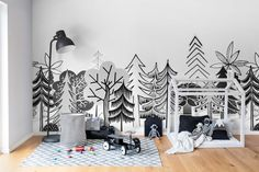 Wall Mural Nordic Valley image 2 by Rebel Walls Kids Wall Murals, Murals For Kids, Wallpaper Stores, Kids Room Wallpaper, Clearance Wallpaper, Kids Room Paint, Room Themes, Creative Decor, White Walls