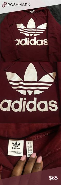 Adidas Hoodie 100% Authentic Adidas Hoodie. Purchased a week ago worn for a few hours, too big for me. Women's Size: M. Burgundy/White with Pockets. Purchased from Urban Outfitters. adidas Tops Sweatshirts & Hoodies