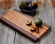 Wooden Cheese Board, Cutting Board, Cherry, Walnut and Maple Wood