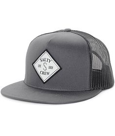 04c66306c50 Salty Crew Tippet Grey   Black Trucker Hat