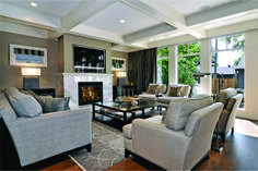 Beautiful coffered ceiling; love the wall color (Oyster Mushroom-Sico)