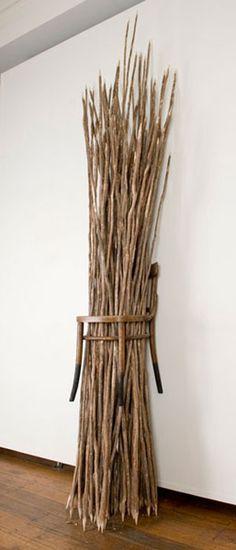 Julie Gough - Some Tasmanian aboriginal children living with non-Aboriginal people before wood, NGA Canberra, found chair and burnt tea tree sticks. Aboriginal Children, Aboriginal People, Indigenous Art, Art Classroom, Sculptures, Tea Tree, Wood, Sticks, Artwork