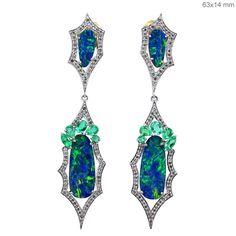 Gold Opal and Emerald Pave Diamond Designer Dangle Earrings By Gemco International Black Opal Jewelry, Emerald Jewelry, Gemstone Jewelry, Peacock Jewelry, Opal Earrings, Fantasy Jewelry, Opal Gemstone, Emerald Diamond, Diamond Design
