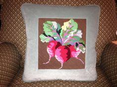 Needlepoint radish pillow
