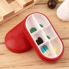 New Red Pill Storage Box Portable Travel Emergency First Aid Kits 6-Slot Medical Pill Box Holder Medicine Drug Case
