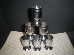 6 Chase Cordial Cups Chrome Deco Barware / Bar  1930s