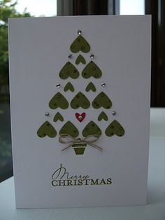 Chrismas card ... adorable tree made of heart puches upside down ...  simple yet elegant with a touch of bling ...  Stampin' Up!