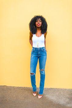 White Bodysuit   High-Waist Ripped Jeans