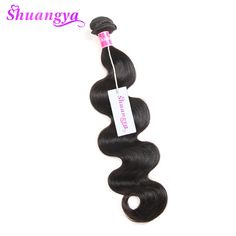 "shuangya hair peruvian body wave hair extension 100% human hair bundles non-remy hair natural color 10""-28"" free shipping black"