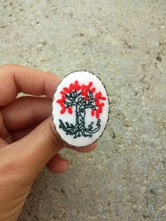Tree of Life Ring, Tree Leaf Boho Gypsy Ring, Big Fabric Ring, Unusual Gift by RedWorkStitches on Etsy