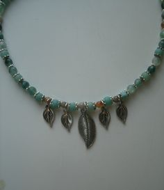 Beaded  Necklace with silver leaves that dangle, Indian Agate, Jade, Moss agate, frosted Onyx green shades, light brown, silver plated beads Onyx Necklace, Turquoise Necklace, Beaded Necklace, Indian Agate, Green Shades, Diy Jewelry Supplies, Moss Agate, Stone Pendants, Necklace Lengths