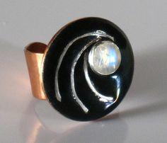 Copper glass enamel ring with moonstone black by RadiantOriginals, $35.00