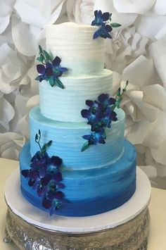 wedding cakes wellington fl textured buttercream wedding cake 2 tier blue ombre 25911