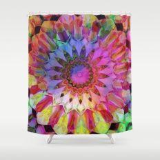 Caribbean Rainbow Flower Kaleidoscope Shower Curtain