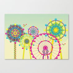 Ferris Wheel Stretched Canvas by Jing Zhangs illustrations - $85.00