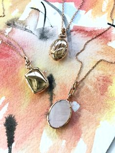 Delicate and sweet...18k rose gold lockets. #rosegoldjewelry #rosegoldaesthetic #rosegold