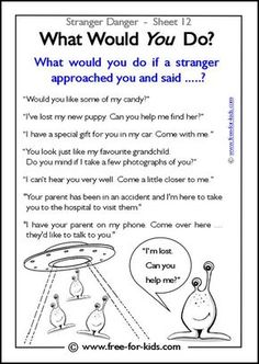 Responsibility Activity Sheets | More Stranger Danger Worksheets and Colouring Pages: