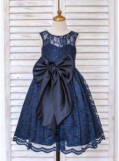 Vestidos princesa/ Formato A Comprimento médio Vestidos de Menina das Flores - Renda Sem magas Decote redondo com Curvado