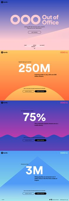 "Colorful One Pager with gradients that change as you scroll promoting Spotify's fun ""out of office"" playlist generator. Design Sites, Page Design, Layout Design, One Pager Design, Las Mercedes, One Page Website, Newsletter Design, Ui Web, Communication Design"