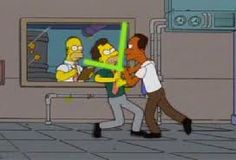 Lenny and Carl arguing over which star wars prequel sucked more