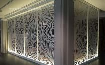 Miles and Lincoln - the UK& leading designer of laser cut screens for decorative interior panels, external architectural cladding, balustrades and ceilings Laser Cut Screens, Laser Cut Panels, Wooden Screen Door, Metal Screen, Metal Wall Panel, Metal Panels, Deco Design, Wall Design, Perforated Metal Panel