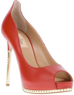 Open Toe Court by Valentino in Tomato Red